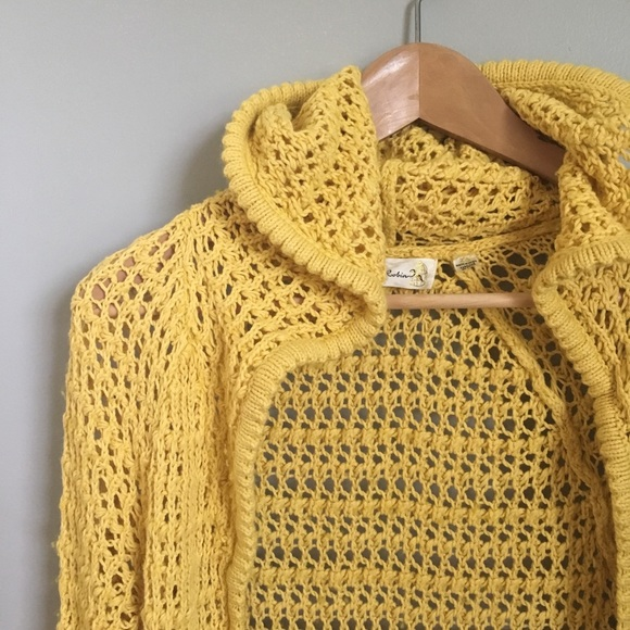 Anthropologie Sweaters - VGUC Crochet Yellow Duster Cardigan